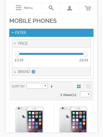 Mobile Price Slider