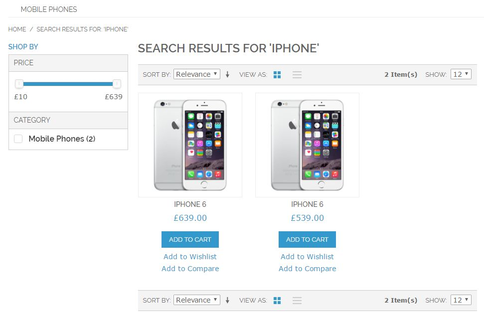 Catalog Search Results Ajax Price Slider